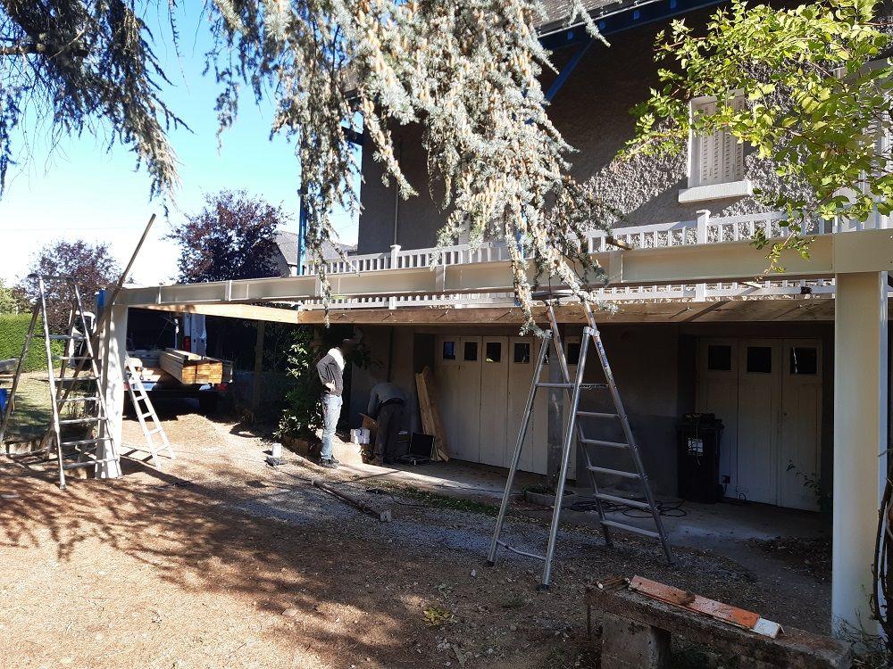 Mise en place de la structure de la terrasse
